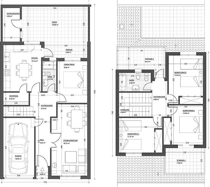 plano de casa pareada con 83 7 m2 y 2 grandes y c modos
